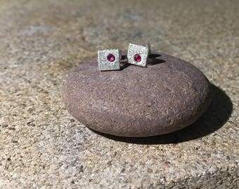 6 mm square silver earrings with ruby or amethyst stones