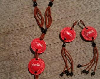 Necklace and earrings in coke bottle caps