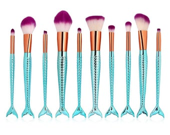 10 pc Aqua  Mermaid Brush Set
