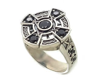 Irish Viking Celtic Cross with Ornament and Zircons Unisex Ring Sterling Silver 925 SKU km1031