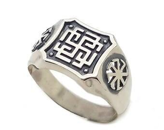 Rodimich Slavic Symbol Men Ring Silver 925 SKU30273