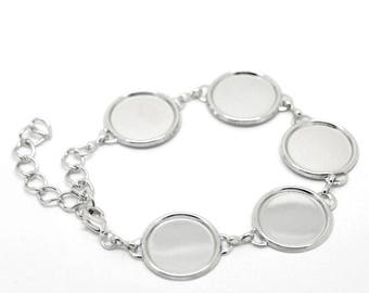 Bracelet 5 oval cabochon 13 x 18 silver plated 1/3
