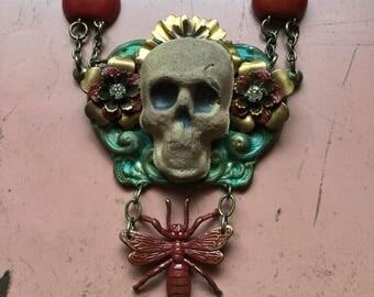 Handmade raku skull and bug gothic necklace