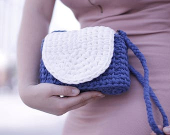 Knitted blue and white bag