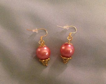 Earrings pink pearls and Golden cups
