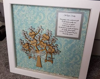 "Large wall hanging family tree box frame 12""x12"" 30cmx30cm"