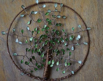 tree of life entirely handmade green and Brown