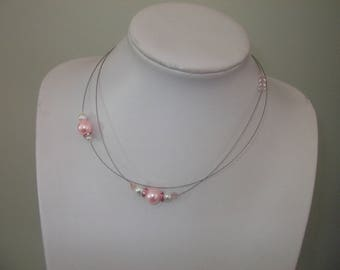 Necklace pink white and powdered glass beads