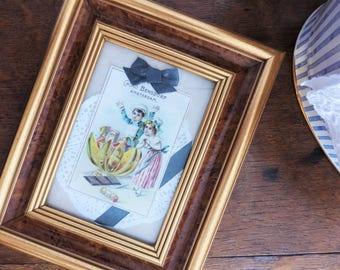 Chromos publicitaire découpage découpis collage encadré Cacao Bensdorp Amsterdam, cadre doré imitation loupe d'orme
