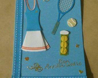"Turquoise birthday greeting card 10,5 x 15 cm, ""tennis"" theme + matching envelope"