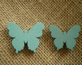 Set of 2 wooden butterflies painted blue color, size 3 and 3.5 cm
