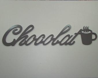 CHOCOLATE Word with gray stone color: 57.5 cm x 13 cm MDF mug