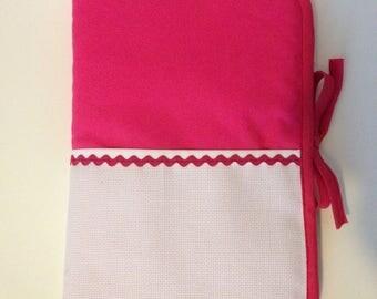 Health book has embroidery stitch cross, fuchsia fabric, aida choice