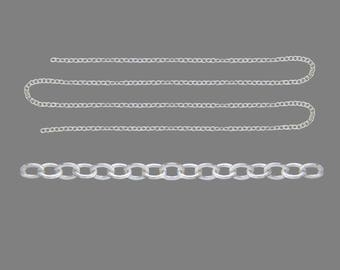 Clear 4 meter length of silver metal chain links 2, 5 x 2 x 0, 45mm - free shipping