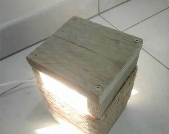 Lamp bedside or table lamp in recycled pallets with natural patina