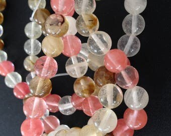 5 x quarz beads in pink melon color