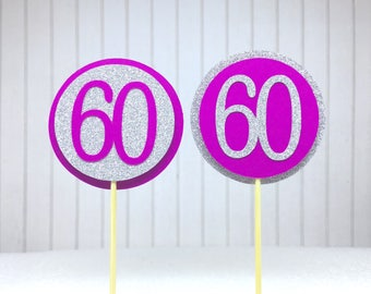 """60th Birthday Cupcake Toppers - Silver Glitter & Hot Pink """"60"""" - Set of 12 - Elegant Cake Cupcake Age Topper Picks Party Decorations"""