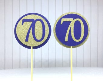 """70th Birthday Cupcake Toppers - Gold Glitter & Navy Blue """"70"""" - Set of 12 - Elegant Cake Cupcake Age Topper Picks Party Decorations"""