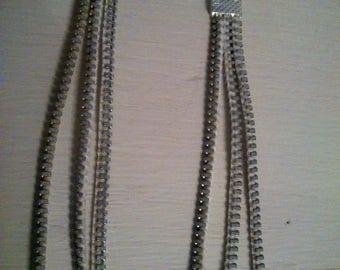 Earrings silver-tone zipper