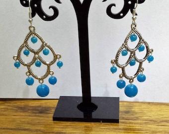 Pearl chandelier earrings blue glass