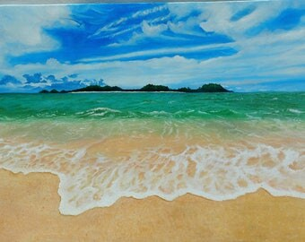 """Original canvas oil painting """"Sky and the beach"""" 40"""" x 28"""""""