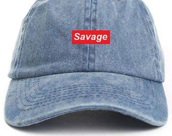 Savage Supreme Box Logo Dad Hat Adjustable Baseball Cap New - Denim