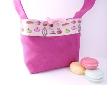 Handbag greedy child, girl fabric alcantara 'Bag Gourmand' bow, cakes, sweets, raspberry color