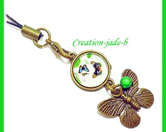 Jewelry for laptop - Butterfly green Cabochon