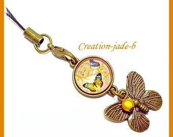 Jewelry for laptop - yellow/Orange Butterfly Cabochon