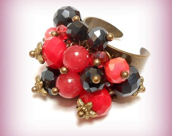 """Ring charms beads """"passionately red and black"""""""