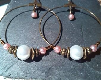 Bronze and Pearl 40 mm hoop earrings