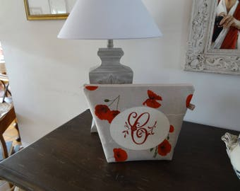 "Clutch purse toilet awith linen look fabric with coqielicotes and an embroidered Monogram ""C"""