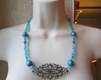 Antique blue and bronze necklace