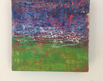 Encaustic abstract landscape on cradled board