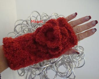 Red fingerless gloves tomette, knit with handmade, crochet, soft and warm