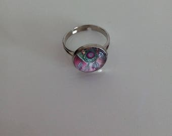 ring cabochon catches pink dream