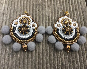 Earrings tassels embroidered Bohemian style beads