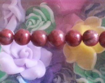1 Pearl, red Jasper 6mm diameter, hole 1 mm