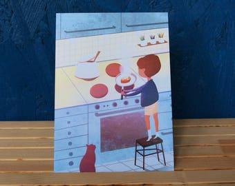 """postcard """"boy in the kitchen"""""""