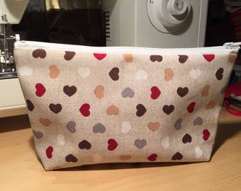 "handmade zip clutch ""heart"""
