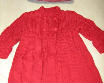 Coat and hat for girl 12 months. new hand knitted