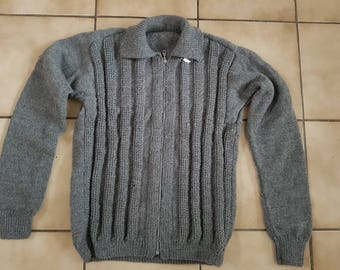 Grey jacket for men. Hand knitted M