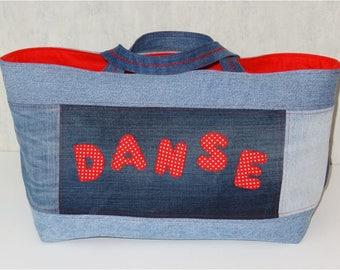 Sac Cabas jean patchwork bleu recyclé DANSE