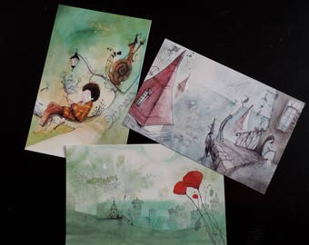 Large postcards - set of 3 - images from my books or book projects