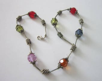 Vintage Multi Colored Costume Beaded Necklace