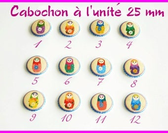 Cabochon 25 mm Matrioshka individually flat back