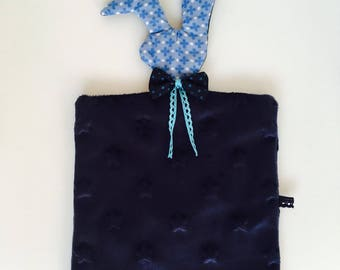 Navy and Blue Bunny baby blanket/plush