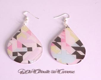 Graphic, geometric earrings, multicolor