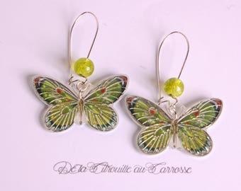 Apple green and orange butterfly earrings