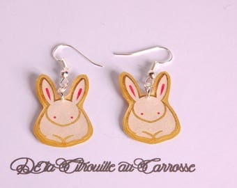 Rabbit, Japanese motif, gold and white earrings